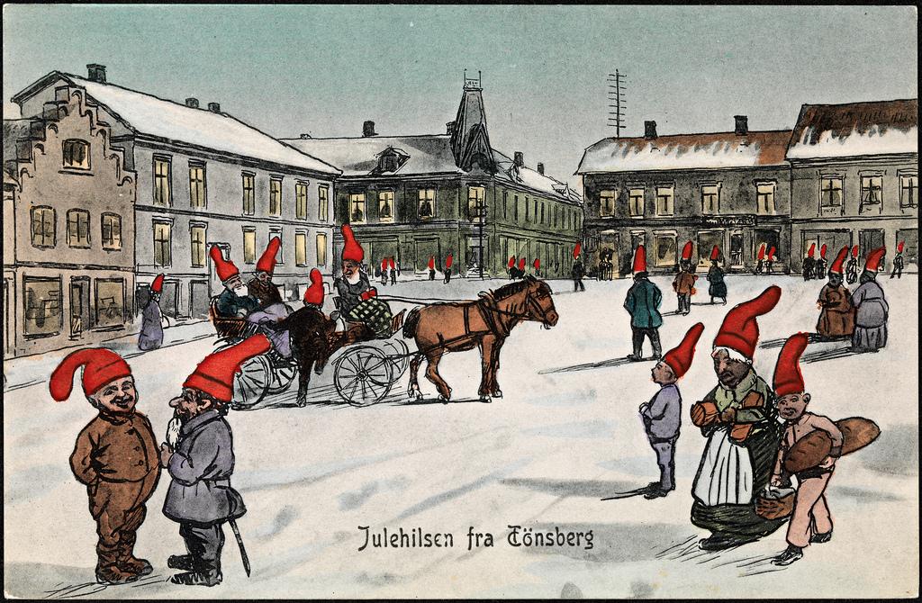 Artist: Fredrik Winsnes | Source: Nasjonalbiblioteket Julehilsen fra Tönsberg, 1908, writing Christmas greeting from Tønsberg, 1908